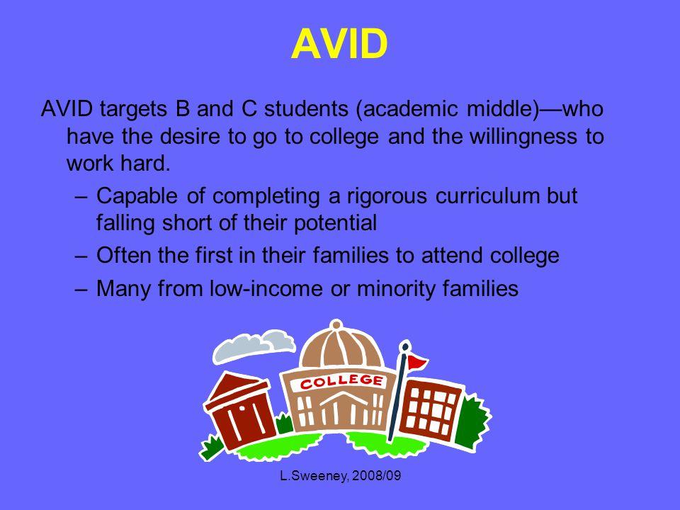 L.Sweeney, 2008/09 What is AVID.