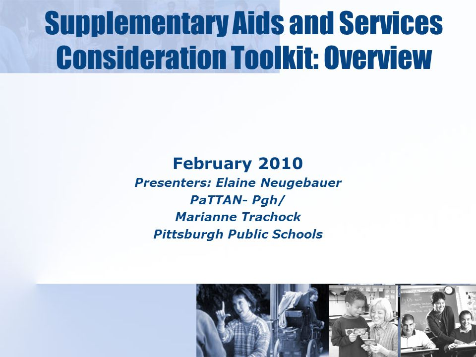 Components of the Toolkit D: Supplementary Aids and Services Self-Check.