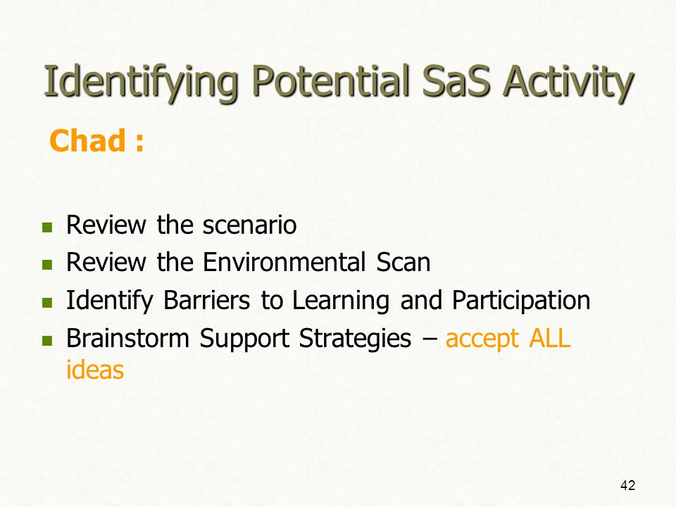 Part 4: Identifying Potential SaS As Guided by the SaS Consideration Toolkit 41