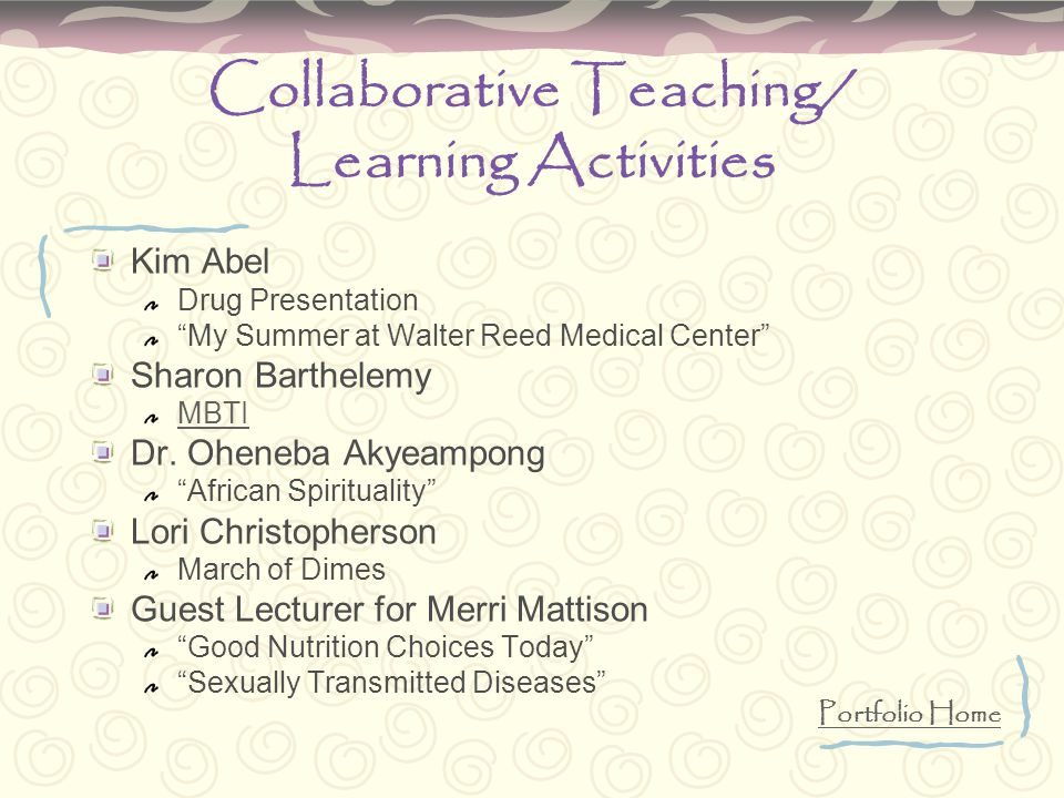 Collaborative Teaching/ Learning Activities Kim Abel Drug Presentation My Summer at Walter Reed Medical Center Sharon Barthelemy MBTI Dr.