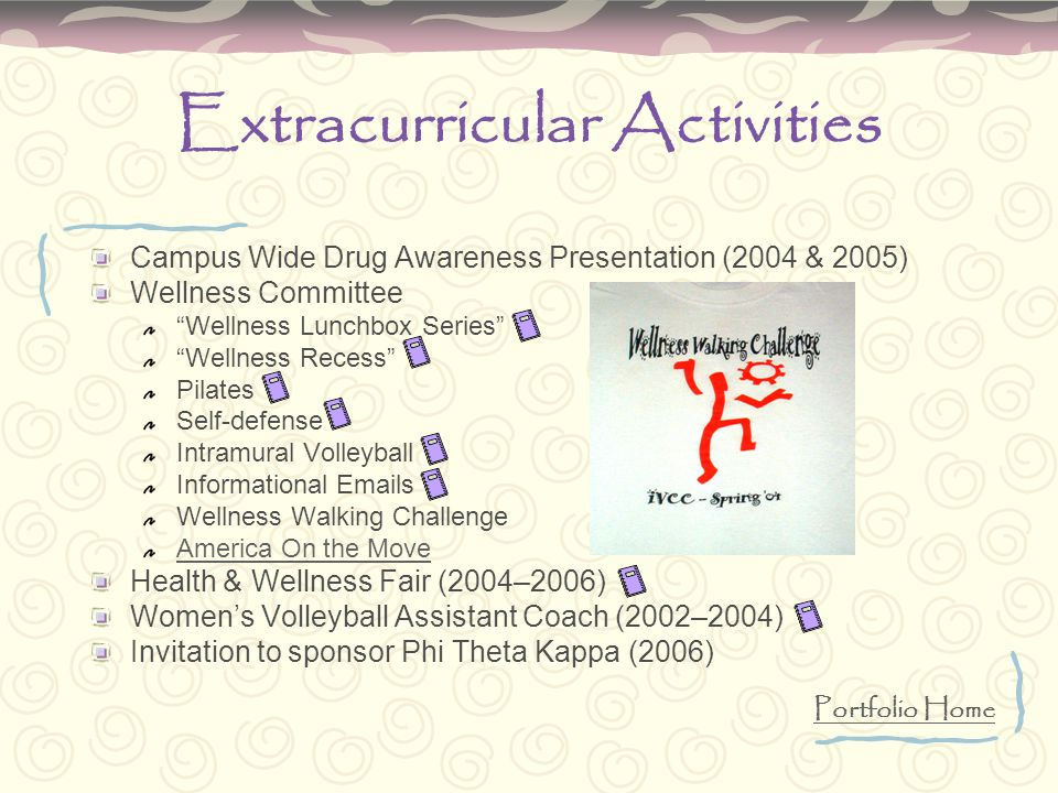 "Extracurricular Activities Campus Wide Drug Awareness Presentation (2004 & 2005) Wellness Committee ""Wellness Lunchbox Series"" ""Wellness Recess"" Pilat"