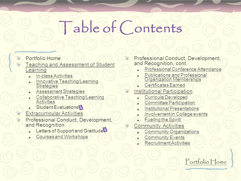 Table of Contents Portfolio Home Teaching and Assessment of Student Learning In-class Activities Innovative Teaching/Learning Strategies Assessment St