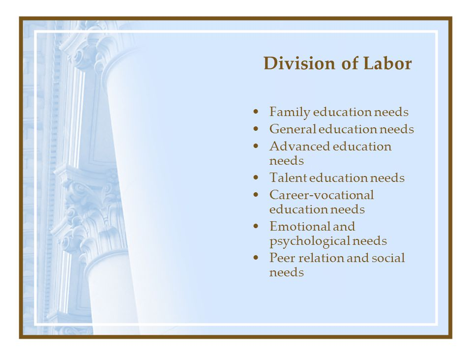 Division of Labor Family education needs General education needs Advanced education needs Talent education needs Career-vocational education needs Emo