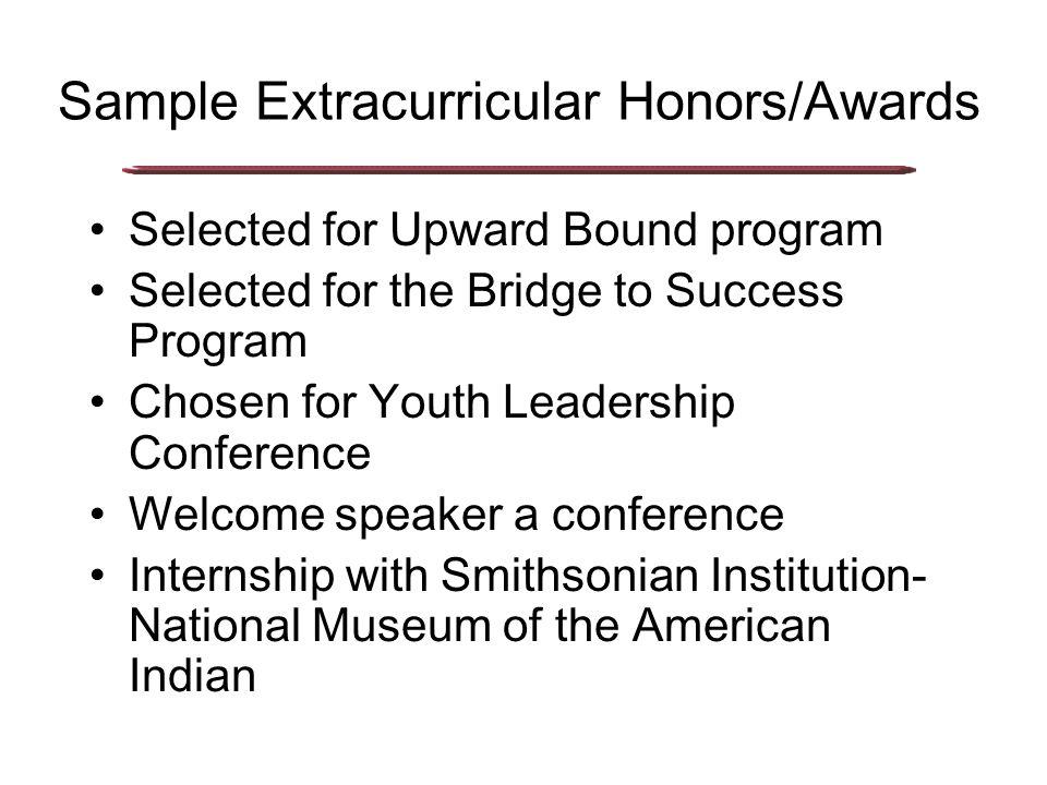 Sample Athletic Honors/Awards Scholar Athlete Track Letter, Football Letter, etc.