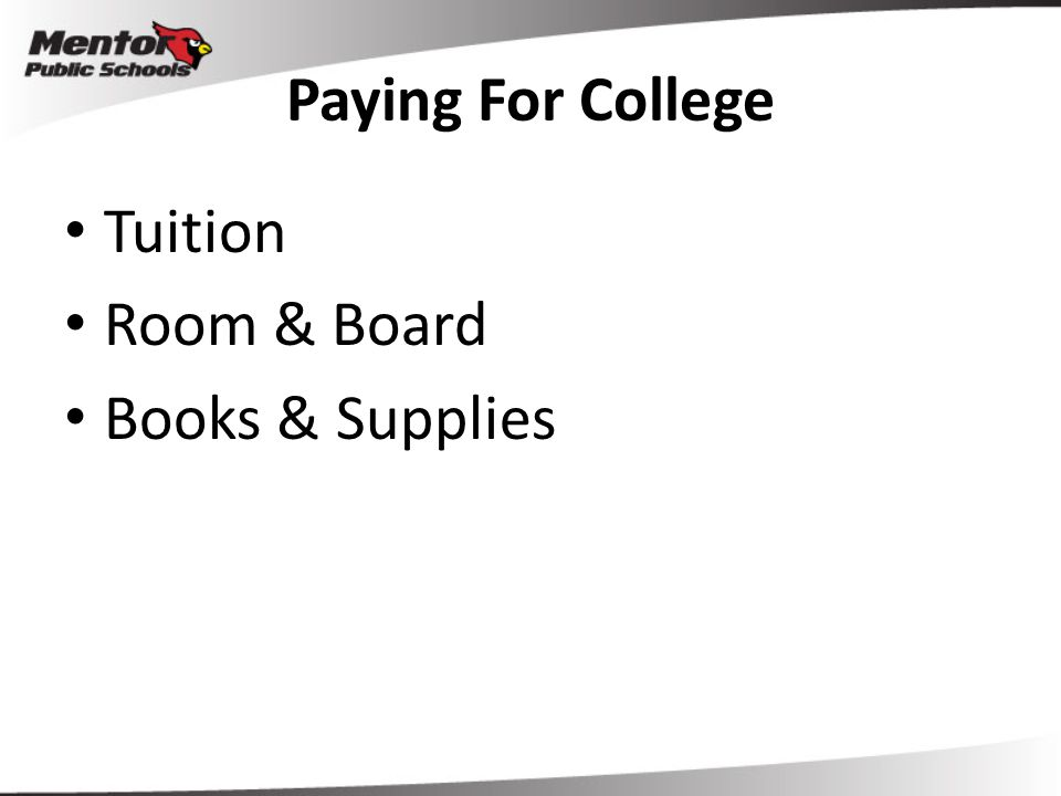 Paying For College Tuition Room & Board Books & Supplies