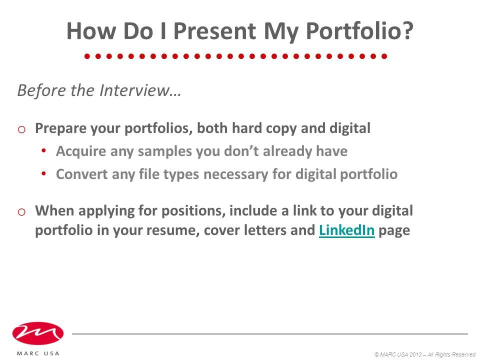 How Do I Present My Portfolio.