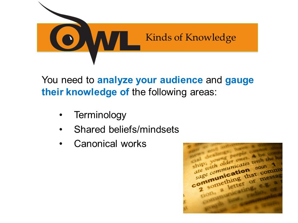 You need to analyze your audience and gauge their knowledge of the following areas: Terminology Shared beliefs/mindsets Canonical works Kinds of Knowledge