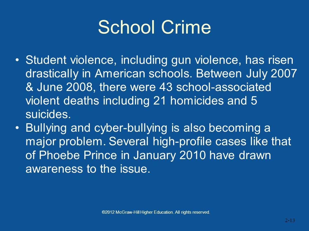 2-13 School Crime Student violence, including gun violence, has risen drastically in American schools.