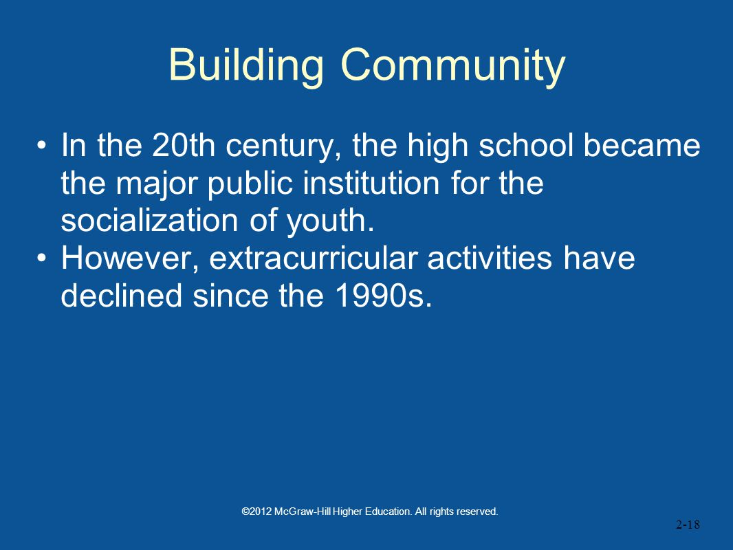 2-18 Building Community In the 20th century, the high school became the major public institution for the socialization of youth.
