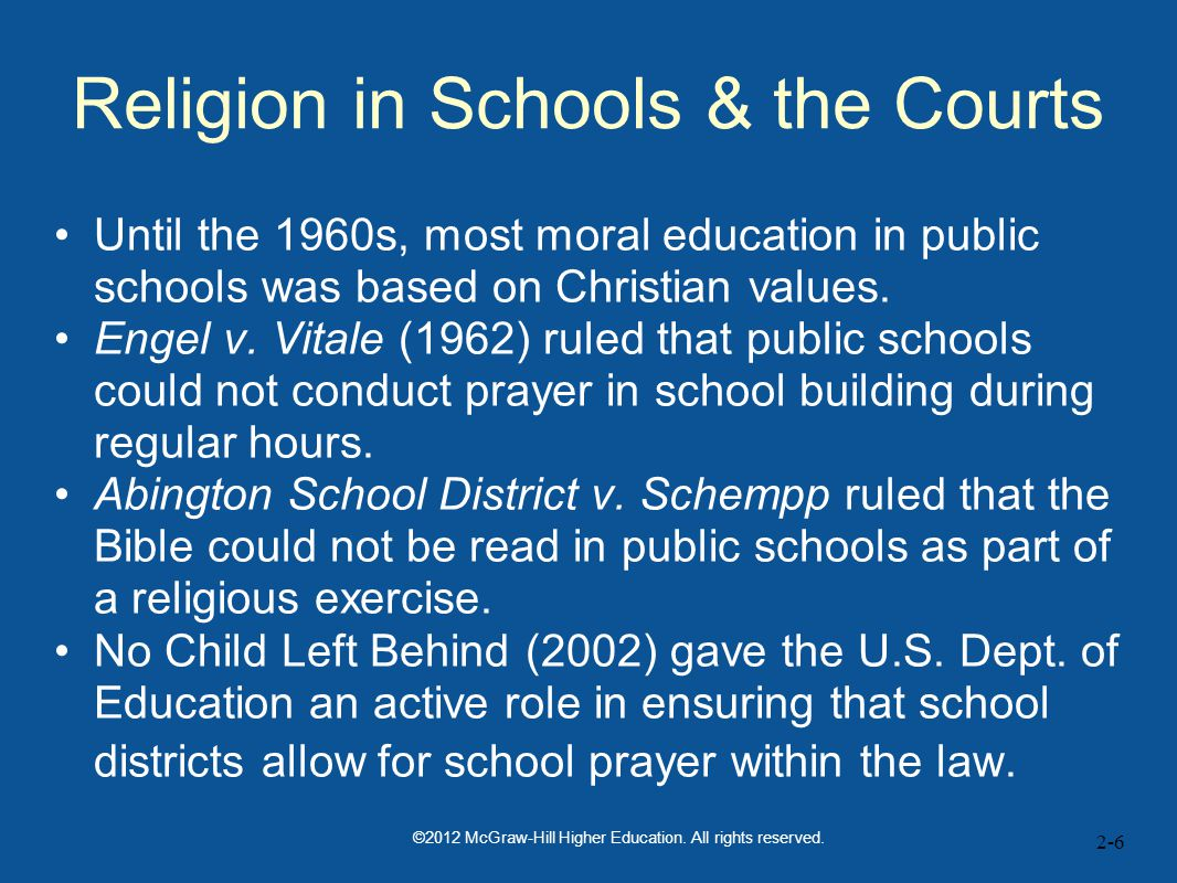 2-6 Religion in Schools & the Courts Until the 1960s, most moral education in public schools was based on Christian values.