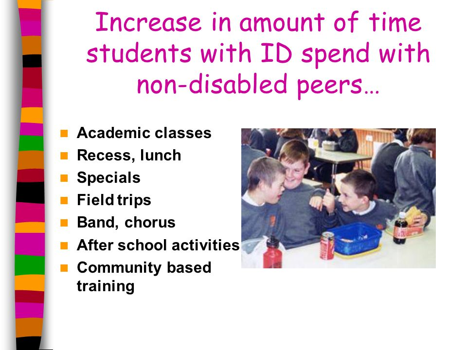 Increase in amount of time students with ID spend with non-disabled peers… Academic classes Recess, lunch Specials Field trips Band, chorus After school activities Community based training