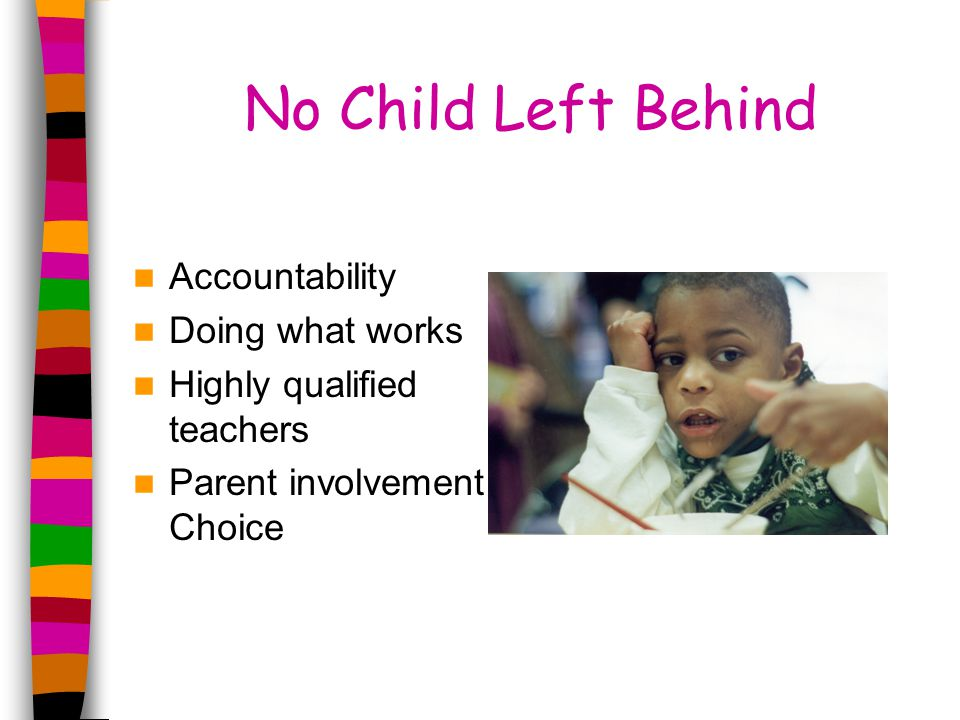 No Child Left Behind Accountability Doing what works Highly qualified teachers Parent involvement Choice