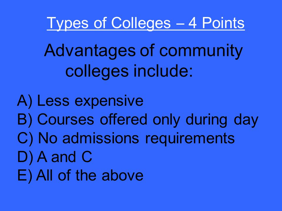 False Types of Colleges – 3 Points