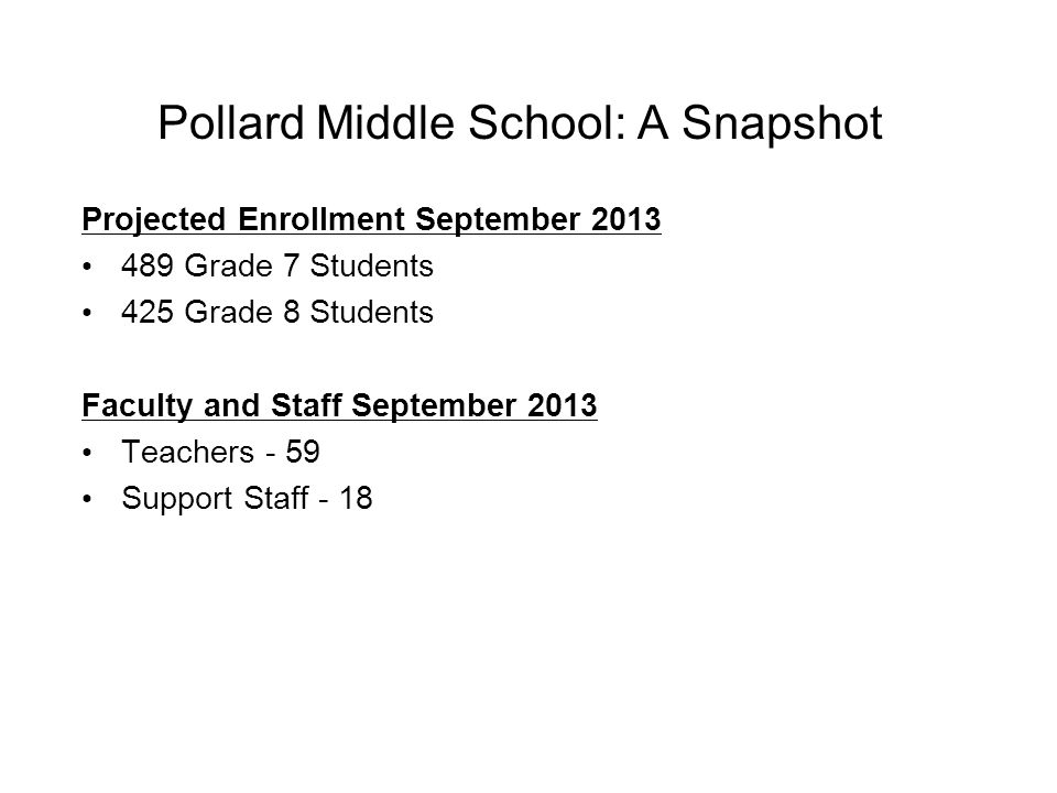 Pollard Middle School: A Snapshot Projected Enrollment September 2013 489 Grade 7 Students 425 Grade 8 Students Faculty and Staff September 2013 Teachers - 59 Support Staff - 18