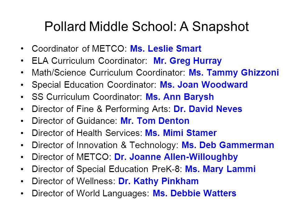 Pollard Middle School: A Snapshot Coordinator of METCO: Ms. Leslie Smart ELA Curriculum Coordinator: Mr. Greg Hurray Math/Science Curriculum Coordinat