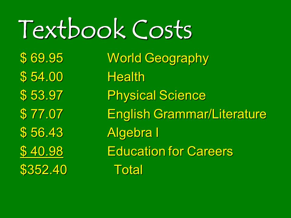 Textbook Costs $ 69.95World Geography $ 54.00Health $ 53.97Physical Science $ 77.07English Grammar/Literature $ 56.43Algebra I $ 40.98Education for Ca
