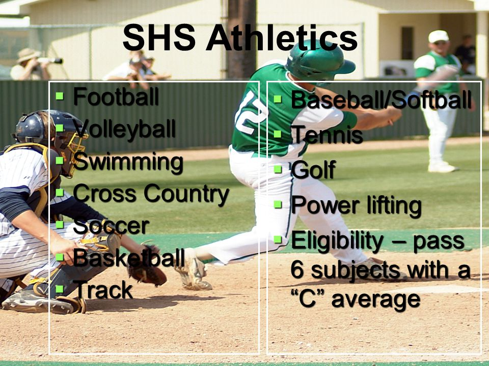  Football  Volleyball  Swimming  Cross Country  Soccer  Basketball  Track  Baseball/Softball  Tennis  Golf  Power lifting  Eligibility – p
