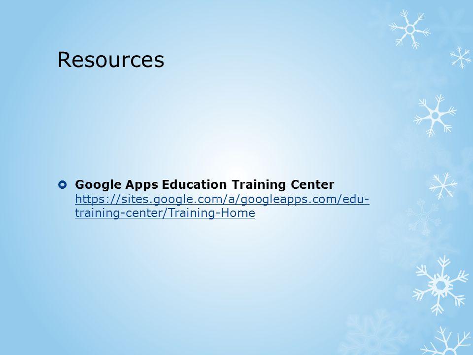 Resources  Google Apps Education Training Center https://sites.google.com/a/googleapps.com/edu- training-center/Training-Home https://sites.google.com/a/googleapps.com/edu- training-center/Training-Home