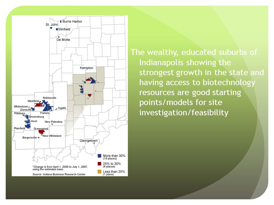 The wealthy, educated suburbs of Indianapolis showing the strongest growth in the state and having access to biotechnology resources are good starting points/models for site investigation/feasibility
