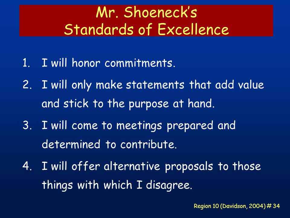 Region 10 (Davidson, 2004) # 34 Mr. Shoeneck's Standards of Excellence 1.I will honor commitments.