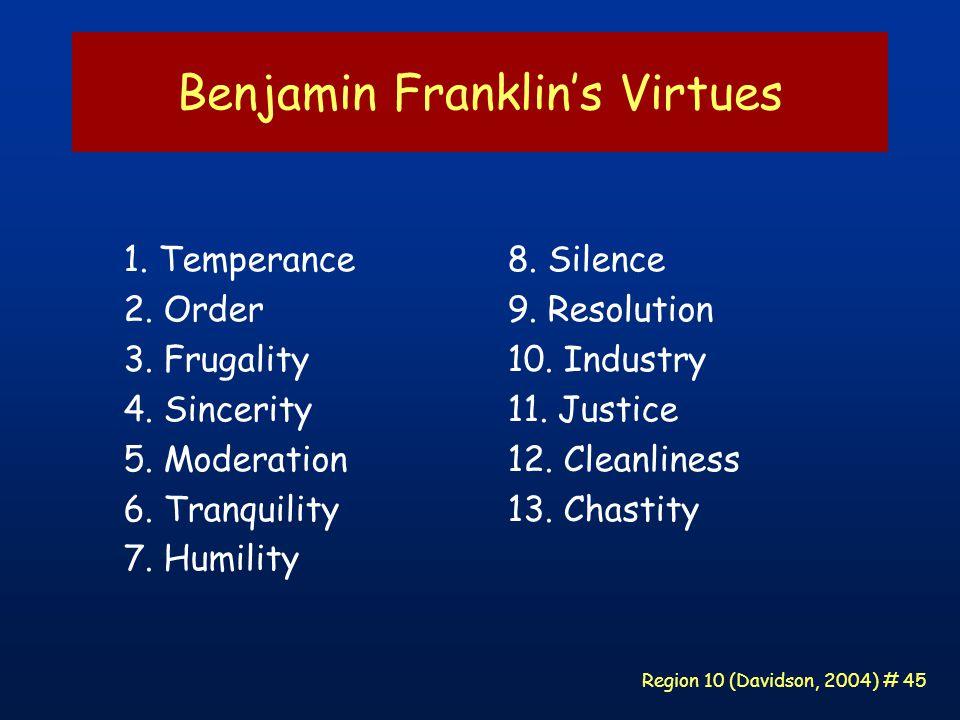 Region 10 (Davidson, 2004) # 45 Benjamin Franklin's Virtues 1.