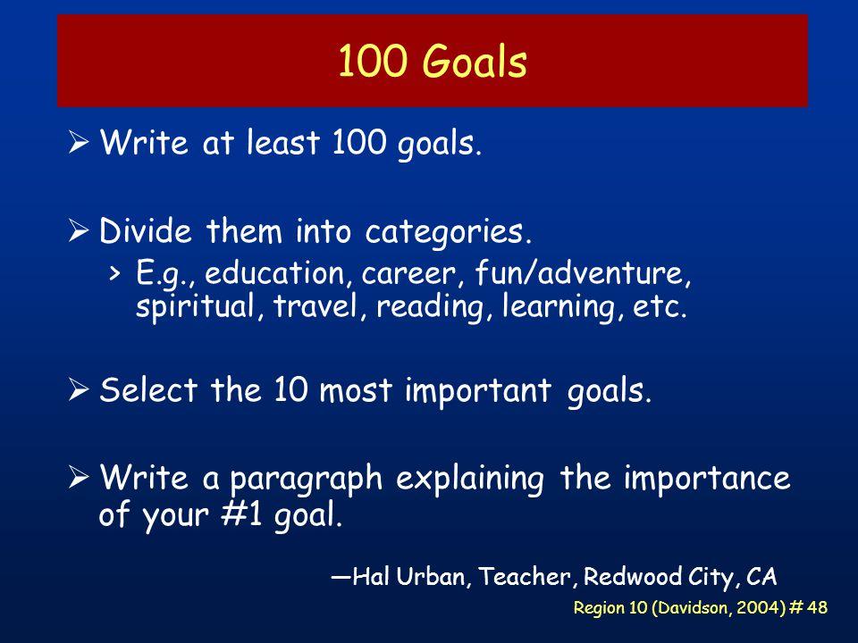 Region 10 (Davidson, 2004) # 48 100 Goals  Write at least 100 goals.