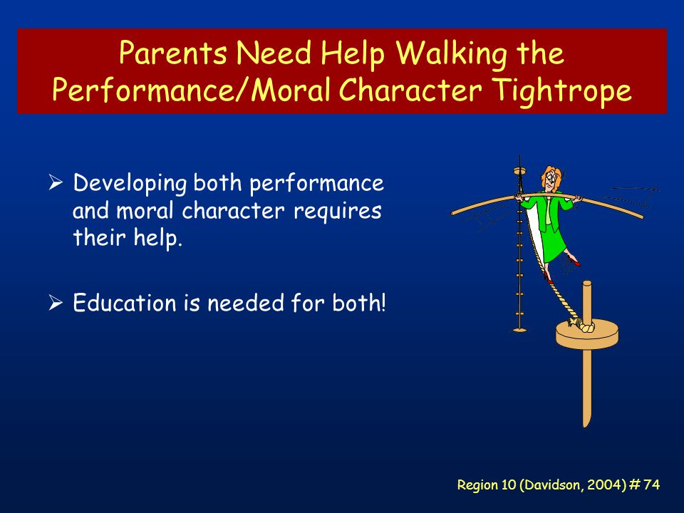 Region 10 (Davidson, 2004) # 74 Parents Need Help Walking the Performance/Moral Character Tightrope  Developing both performance and moral character requires their help.