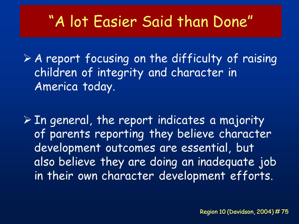 Region 10 (Davidson, 2004) # 75 A lot Easier Said than Done  A report focusing on the difficulty of raising children of integrity and character in America today.