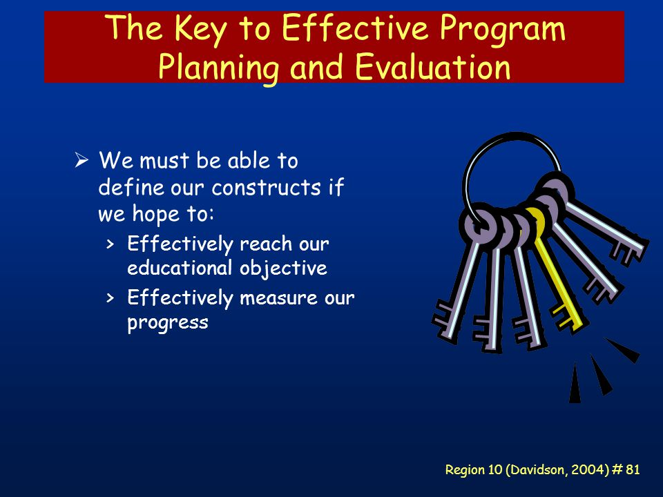 Region 10 (Davidson, 2004) # 81 The Key to Effective Program Planning and Evaluation  We must be able to define our constructs if we hope to: >Effectively reach our educational objective >Effectively measure our progress