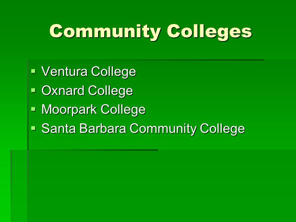 Community Colleges  Ventura College  Oxnard College  Moorpark College  Santa Barbara Community College