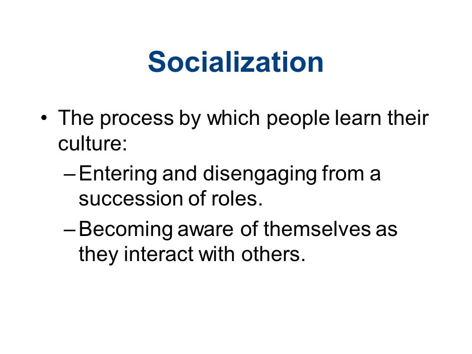 Socialization The process by which people learn their culture: –Entering and disengaging from a succession of roles.