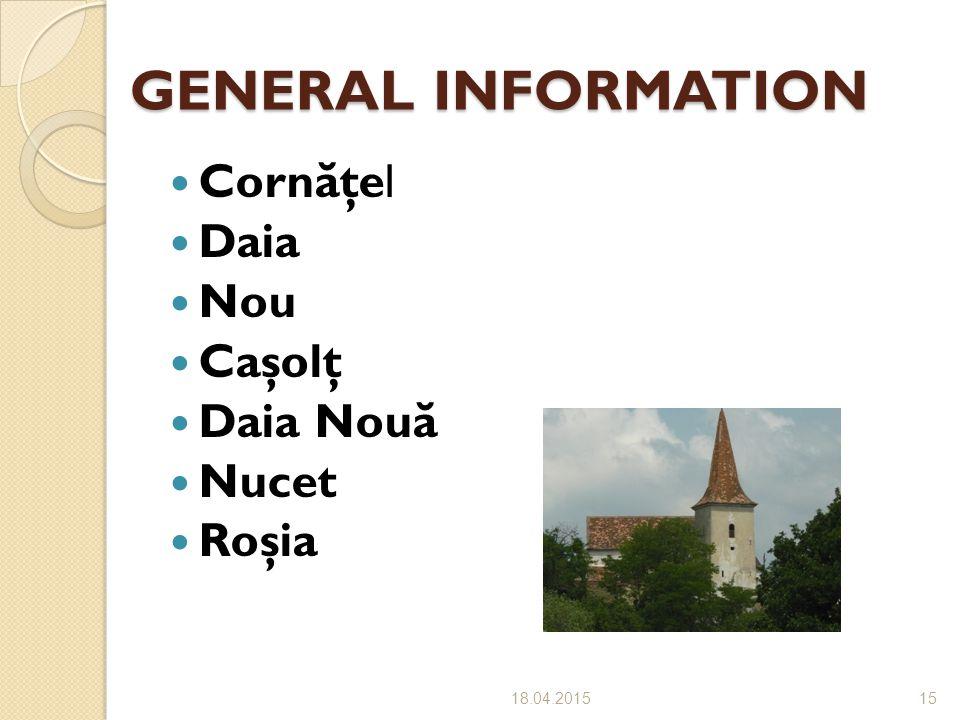 GENERAL INFORMATION GENERAL INFORMATION Corn ă ţel Daia Nou Caşolţ Daia Nou ă Nucet Roşia 18.04.201515