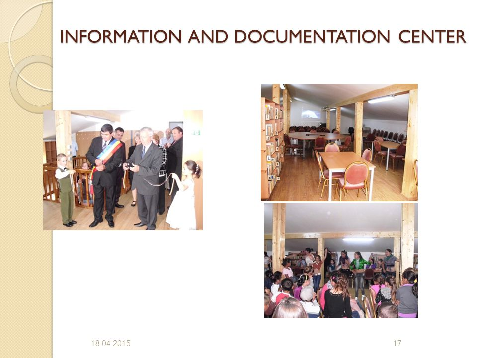 INFORMATION AND DOCUMENTATION CENTER 18.04.201517