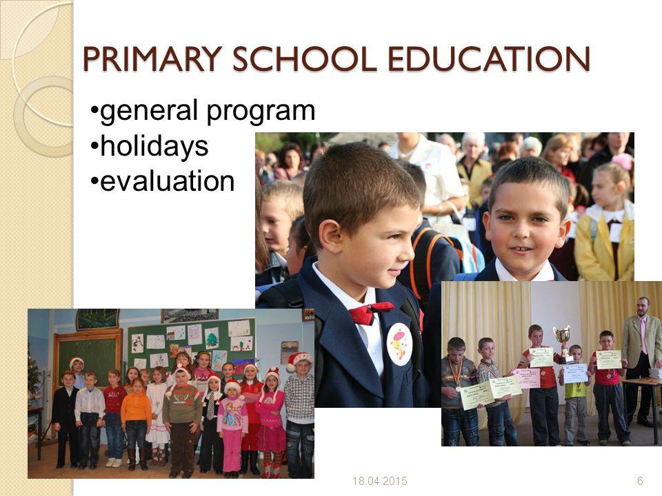 18.04.20156 PRIMARY SCHOOL EDUCATION general program holidays evaluation