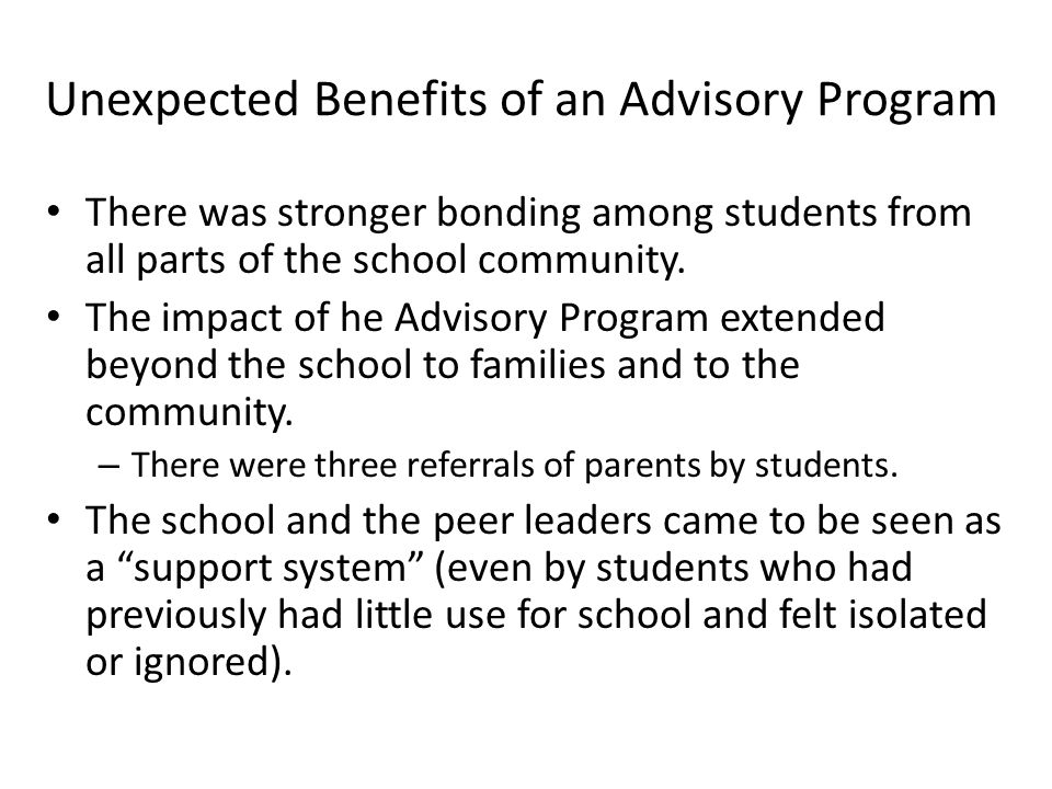 Results of Surveys Continued Do you feel your peer leader(s) played a helpful role in your advisory group.