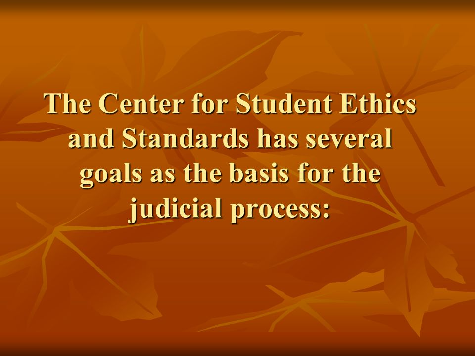 The Center for Student Ethics and Standards has several goals as the basis for the judicial process: