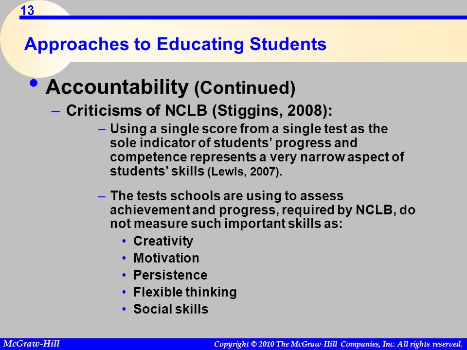 Copyright © 2010 The McGraw-Hill Companies, Inc. All rights reserved. McGraw-Hill 13 Approaches to Educating Students Accountability (Continued) –Crit