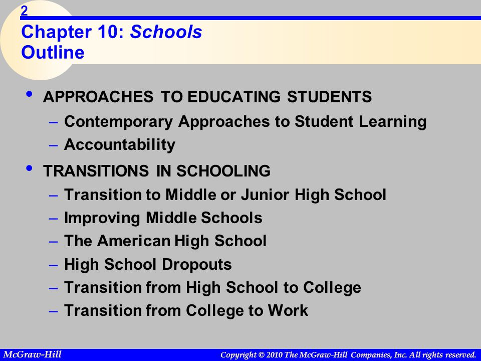 Copyright © 2010 The McGraw-Hill Companies, Inc. All rights reserved. McGraw-Hill 2 Chapter 10: Schools Outline APPROACHES TO EDUCATING STUDENTS –Cont