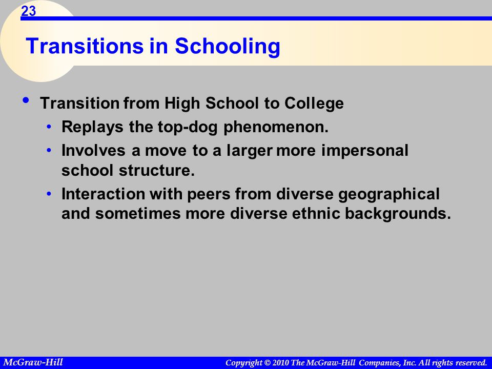 Copyright © 2010 The McGraw-Hill Companies, Inc. All rights reserved. McGraw-Hill 23 Transitions in Schooling Transition from High School to College R