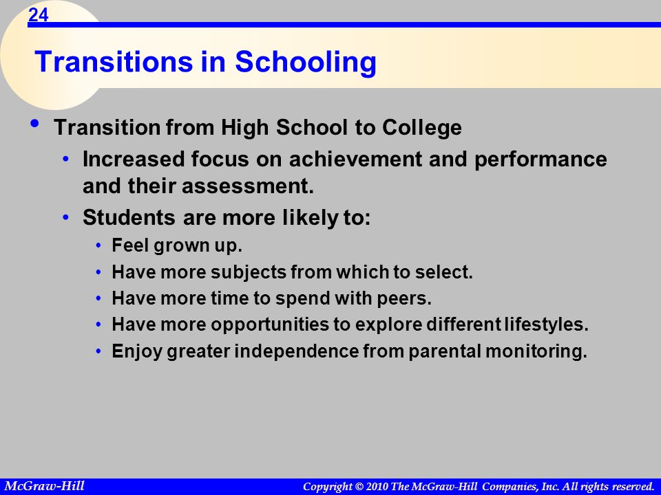 Copyright © 2010 The McGraw-Hill Companies, Inc. All rights reserved. McGraw-Hill 24 Transitions in Schooling Transition from High School to College I
