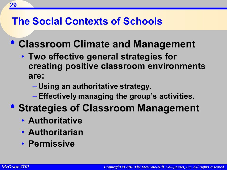 Copyright © 2010 The McGraw-Hill Companies, Inc. All rights reserved. McGraw-Hill 29 The Social Contexts of Schools Classroom Climate and Management T