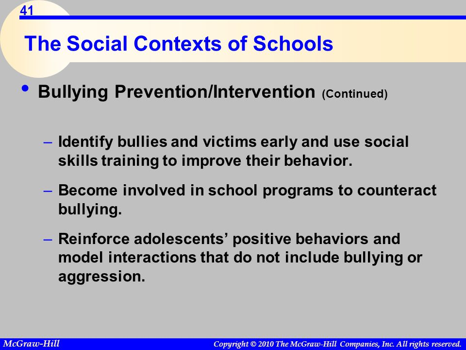 Copyright © 2010 The McGraw-Hill Companies, Inc. All rights reserved. McGraw-Hill 41 The Social Contexts of Schools Bullying Prevention/Intervention (