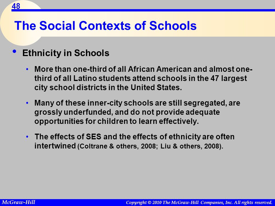 Copyright © 2010 The McGraw-Hill Companies, Inc. All rights reserved. McGraw-Hill 48 The Social Contexts of Schools Ethnicity in Schools More than one
