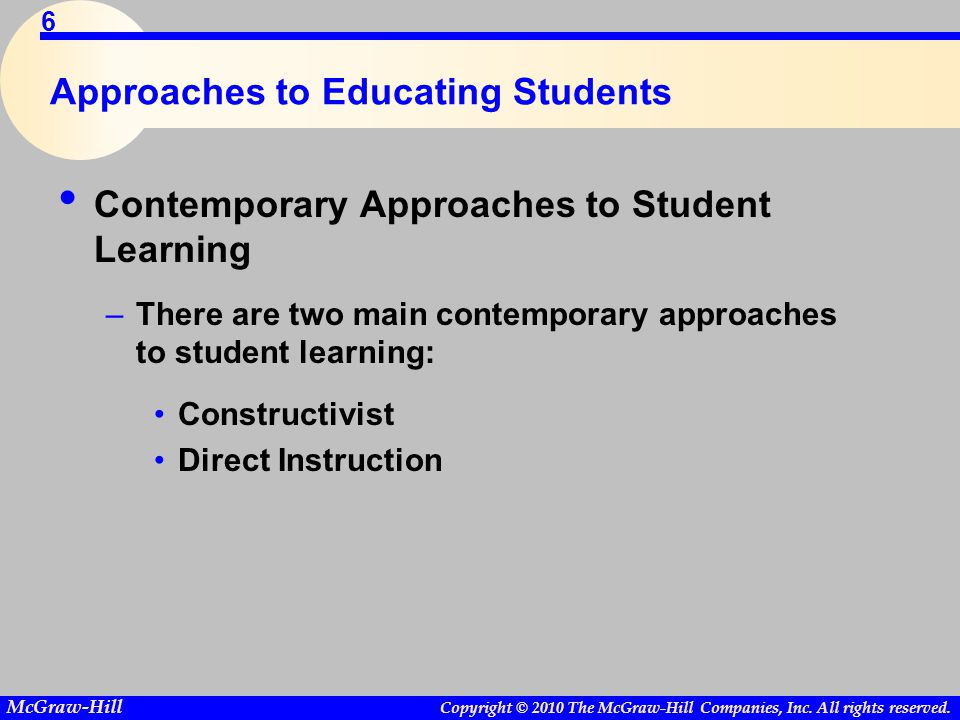 Copyright © 2010 The McGraw-Hill Companies, Inc. All rights reserved. McGraw-Hill 6 Approaches to Educating Students Contemporary Approaches to Studen