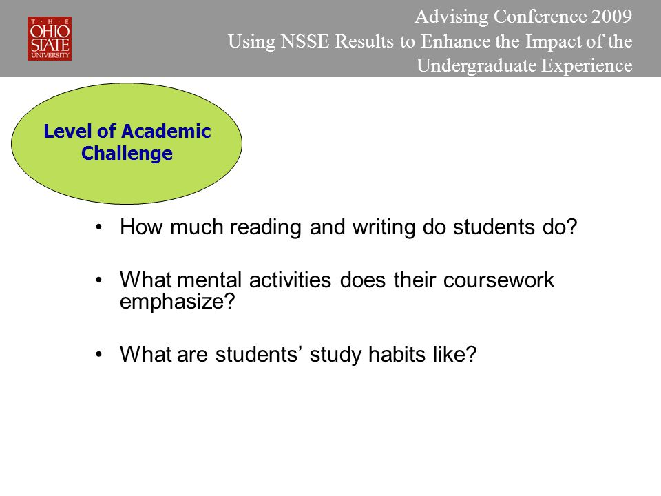 Advising Conference 2009 Using NSSE Results to Enhance the Impact of the Undergraduate Experience Level of Academic Challenge How much reading and writing do students do.