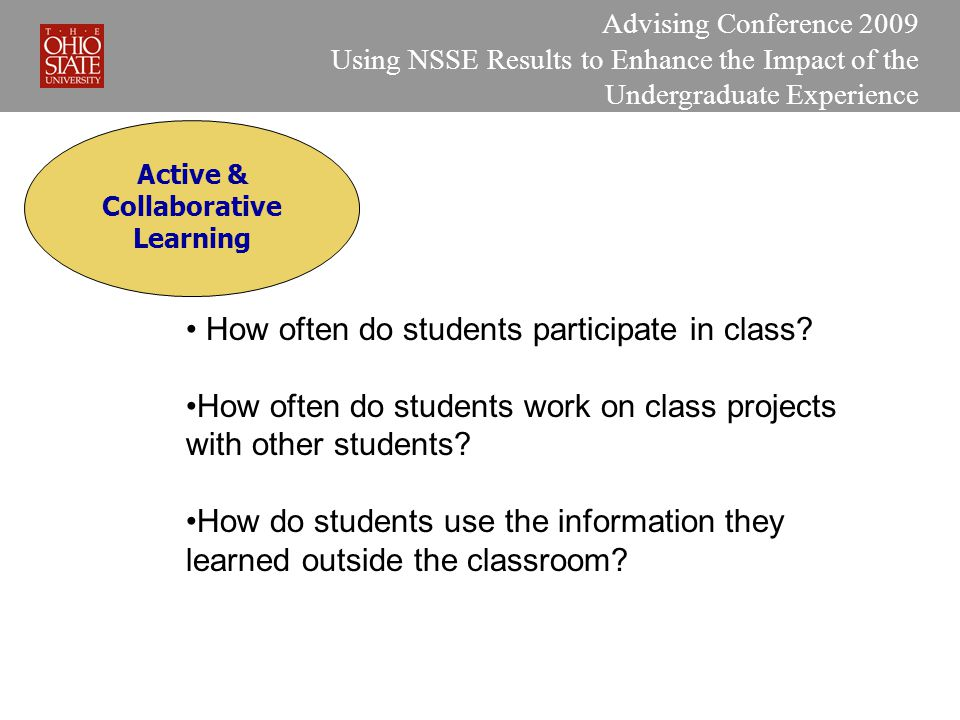 Active & Collaborative Learning Advising Conference 2009 Using NSSE Results to Enhance the Impact of the Undergraduate Experience How often do students participate in class.