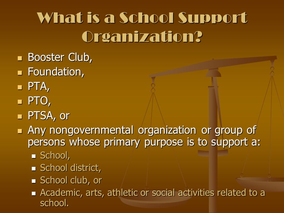 School Support Organizations are the only organizations or groups that can raise money in the name of a school or school district.