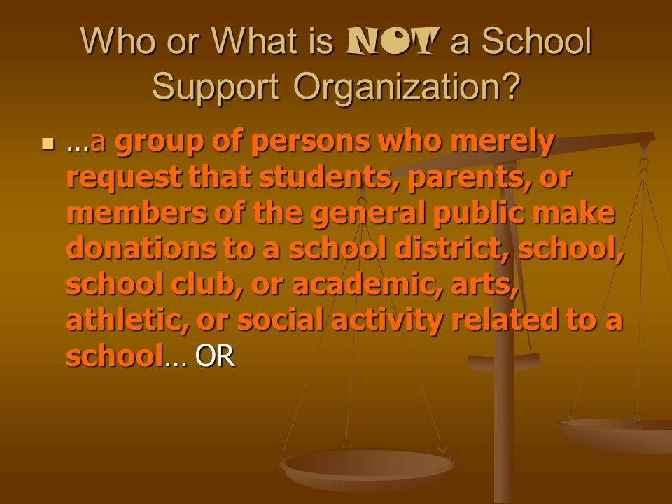 Credits against extracurricular activity fees Since a school support organization may not use its funds for a purpose other than those related to its goals and objectives that relate to supporting a school district, school, school club, or school academic, arts, athletic or social activity…TCA 49-2-608(3) Since a school support organization may not use its funds for a purpose other than those related to its goals and objectives that relate to supporting a school district, school, school club, or school academic, arts, athletic or social activity…TCA 49-2-608(3) …it would appear that credits to individual accounts are not allowed under the law other than those credits which are applied to all students who participate in the club or activity.