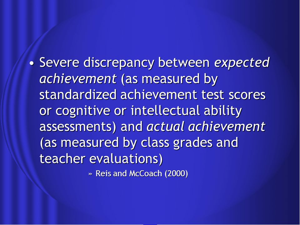 Underachievement: What does it look like.