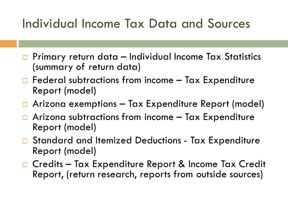 Individual Income Tax Data and Sources  Primary return data – Individual Income Tax Statistics (summary of return data)  Federal subtractions from income – Tax Expenditure Report (model)  Arizona exemptions – Tax Expenditure Report (model)  Arizona subtractions from income – Tax Expenditure Report (model)  Standard and Itemized Deductions - Tax Expenditure Report (model)  Credits – Tax Expenditure Report & Income Tax Credit Report, (return research, reports from outside sources)